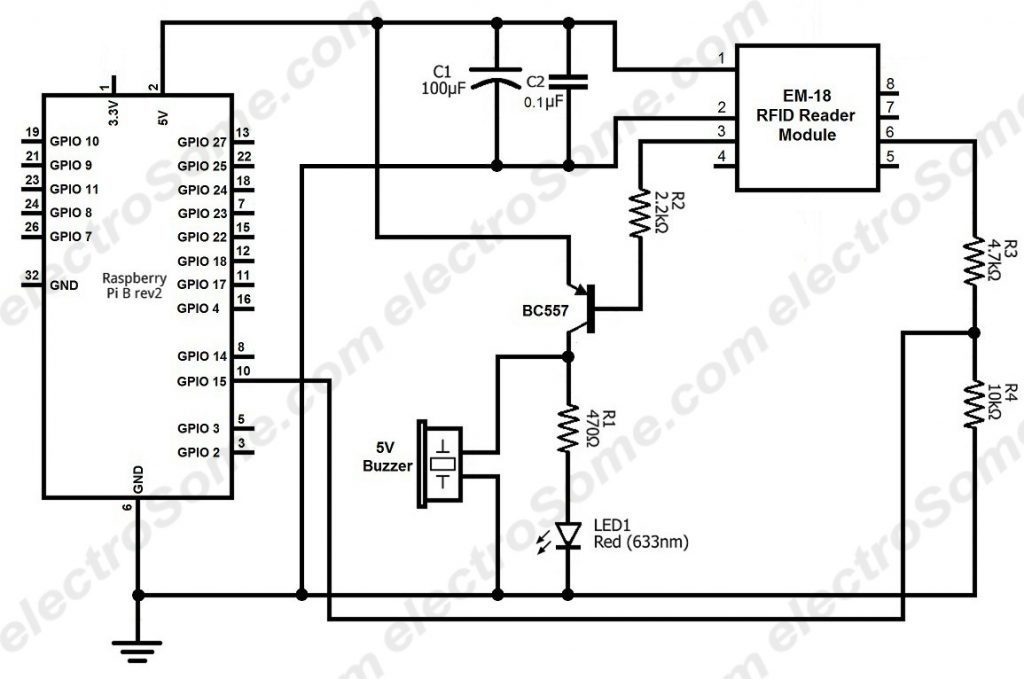 Interfacing EM-18 RFID Reader Module with Raspberry Pi - Circuit Diagram