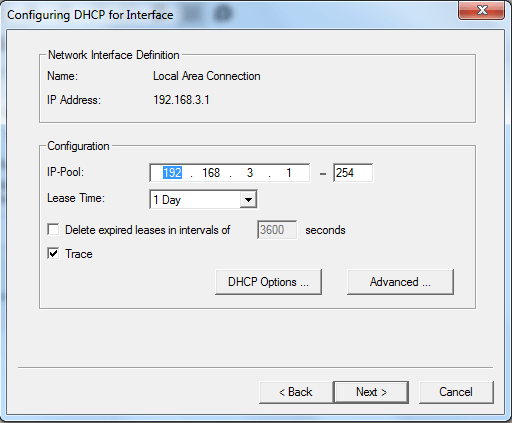 WIndows DHCP server setup - configuring DHCP