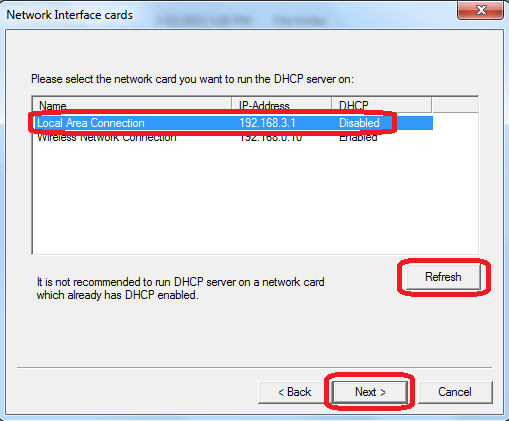 WIndows DHCP server setup - selecting network