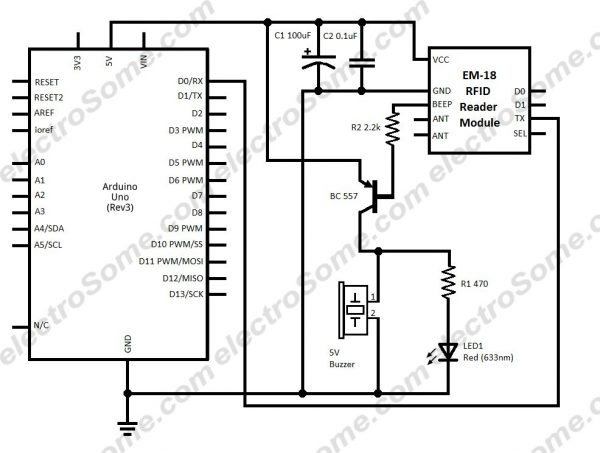 Interfacing EM-18 RFID Reader Module with Arduino - Circuit Diagram
