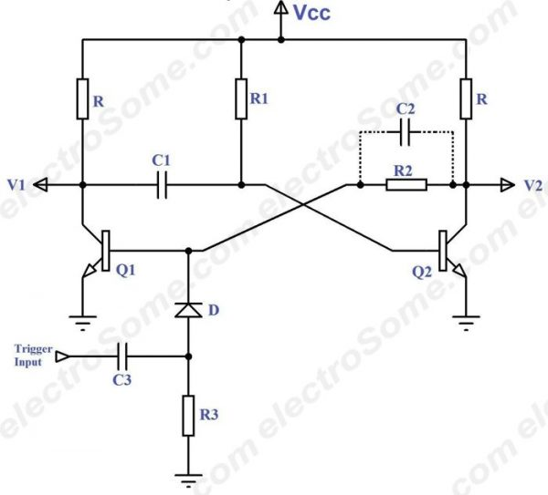 Monostable Multivibrator using Transistors - Circuit Diagram