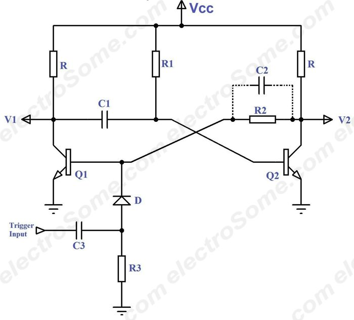 monostable multivibrator using transistors rh electrosome com