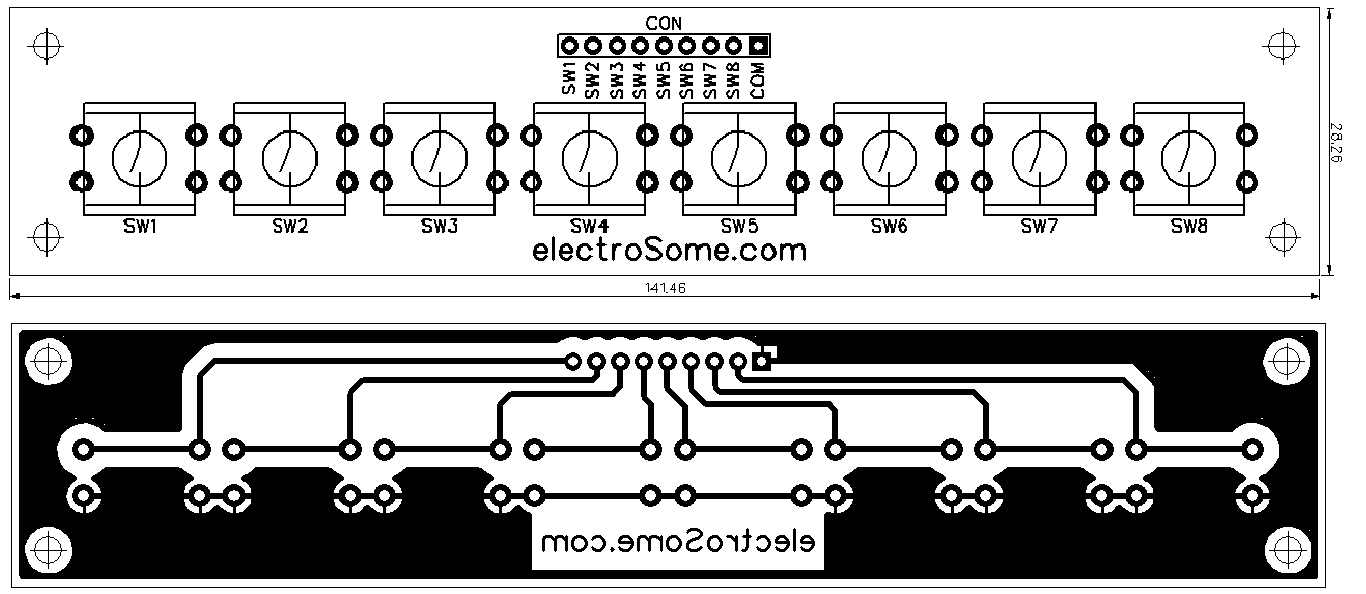 Simple Electronic Piano Using 555 Timer Toy Organ Circuit Ne555 Siren Alarm Indicator Tone Generator Diagram 8 Switch Keyboard Pcb Top And Bottom