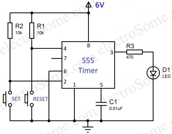Bistable Multivibrator 555 Timer - Circuit Diagram