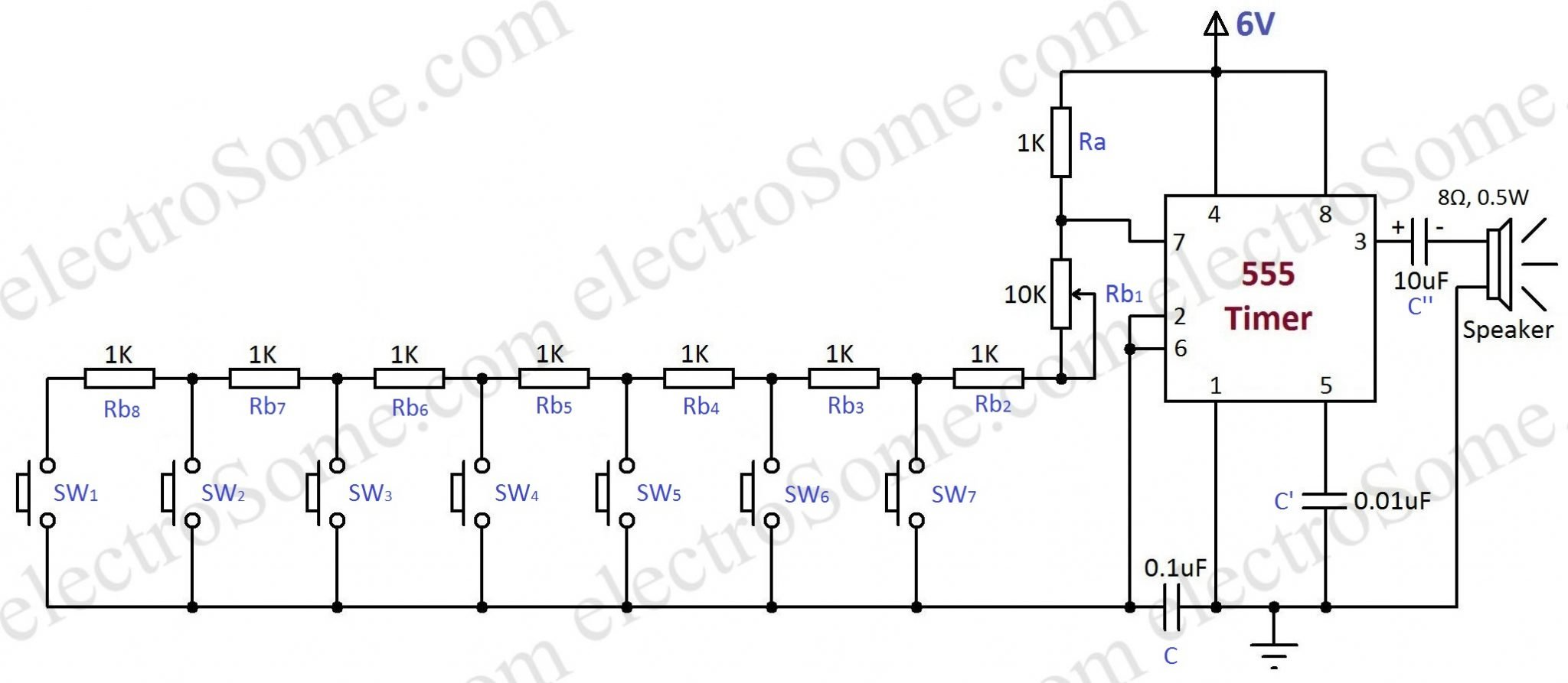 Simple Electronic Piano Using 555 Timer Toy Organ Circuit Single Transistor Radio Receiver Projects Diagram