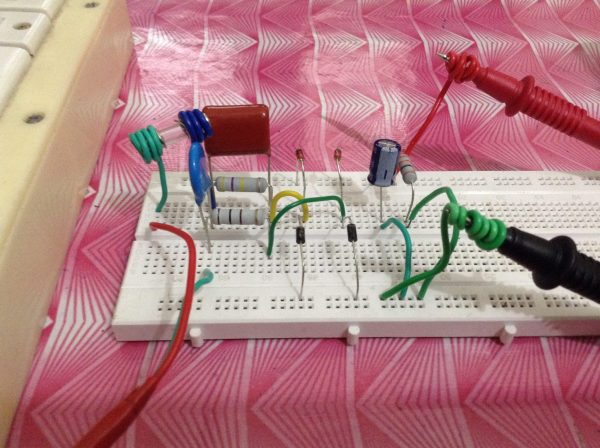 12V Capacitor Dropper Power Supply on Breadboard