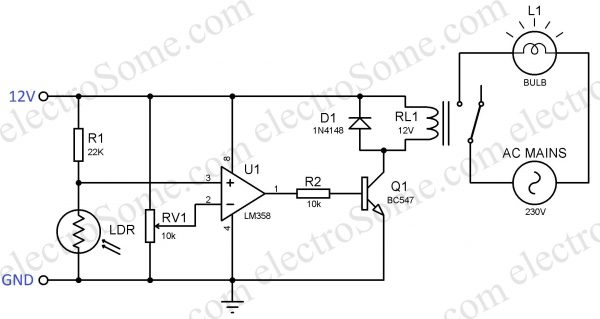 Automatic Night Lamp - Circuit Diagram