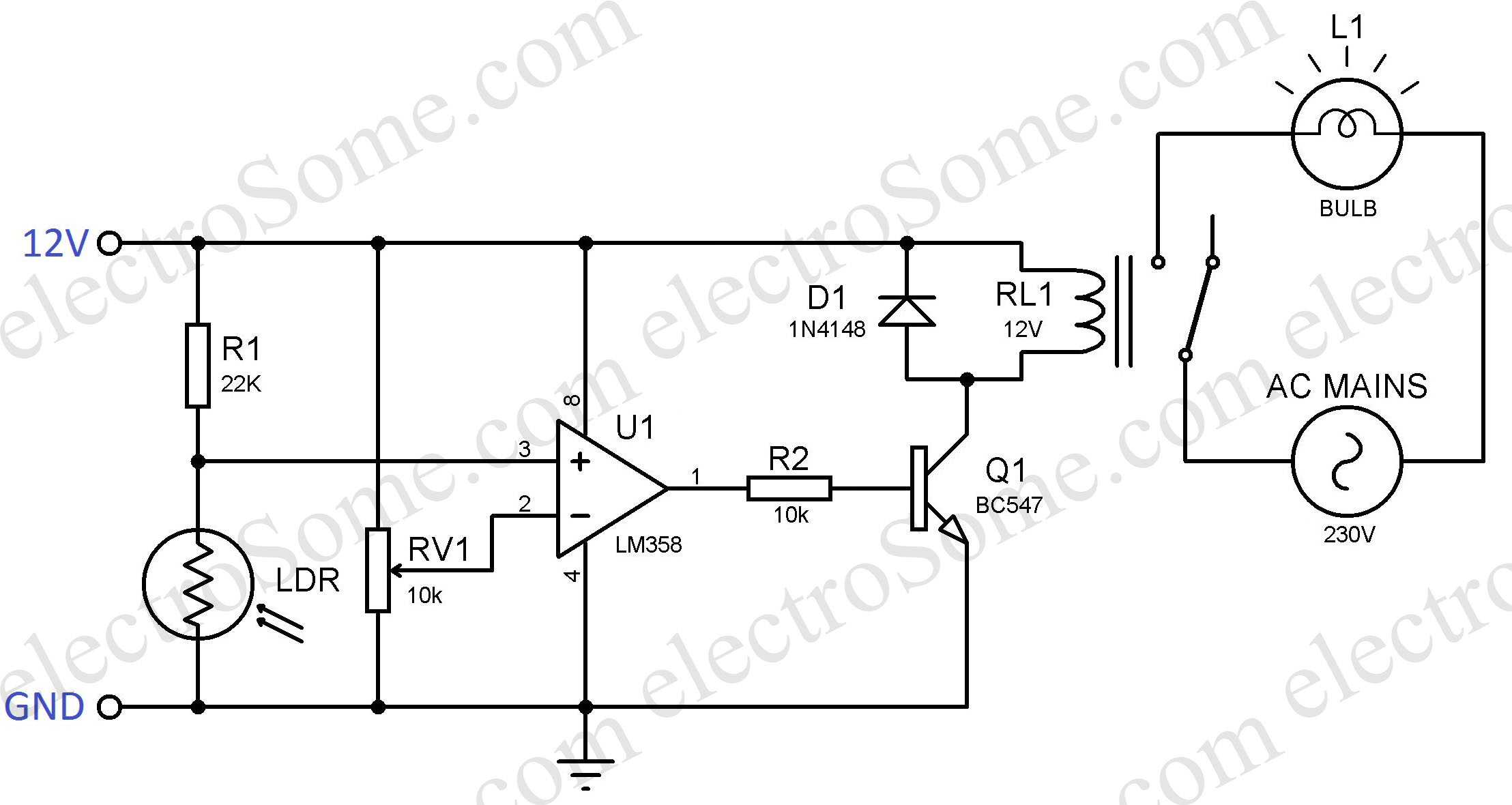 Automatic Night Lamp Using Ldr Op Amp Single Power Supply Circuit Diagram