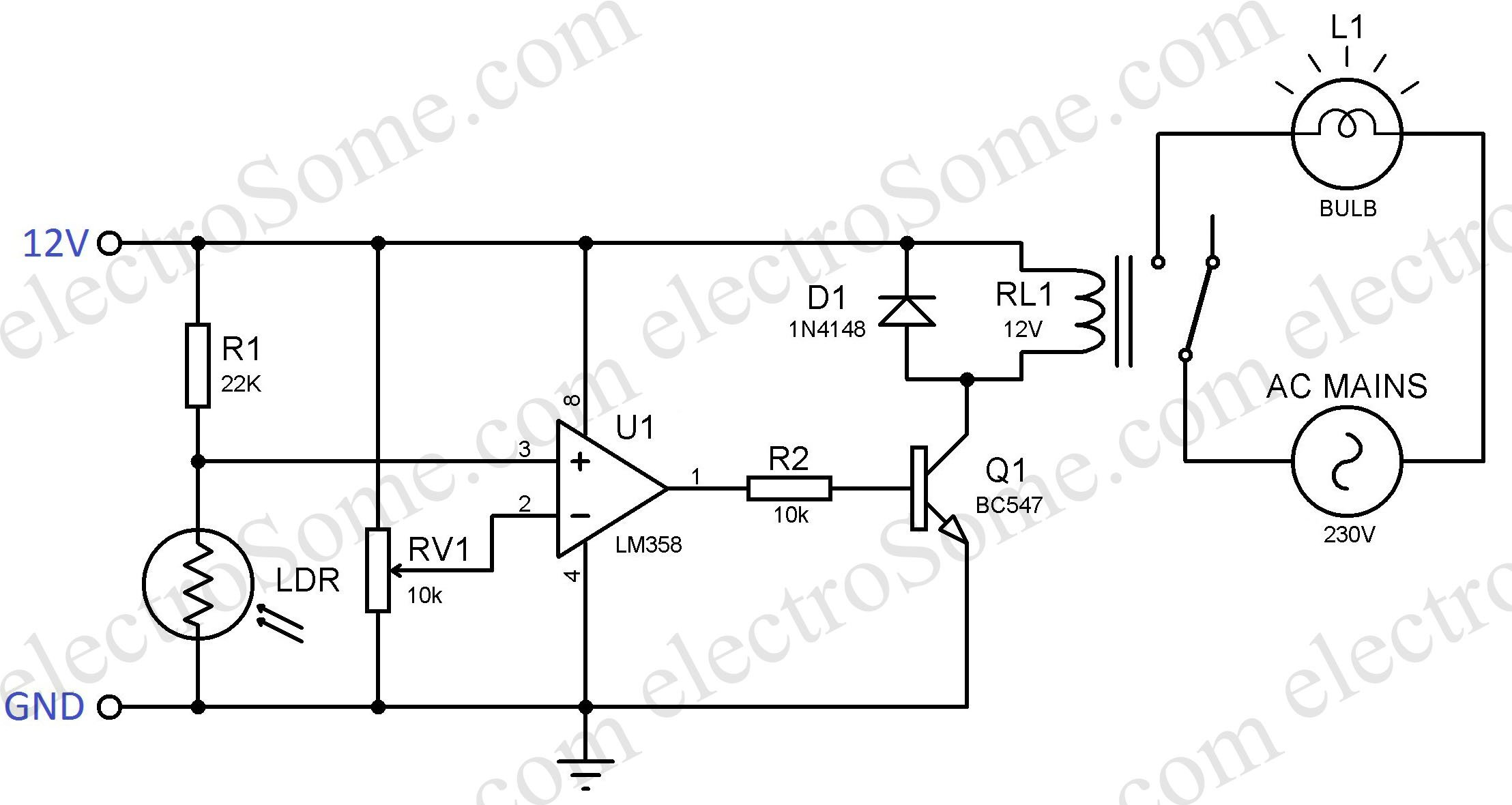 Day Night Switch Circuit Diagram Diy Enthusiasts Wiring Diagrams Light 220v Automatic Lamp Using Ldr Rh Electrosome Com Simple