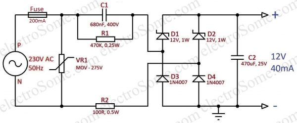 Transformerless Capacitor Power Supply 12V 40mA