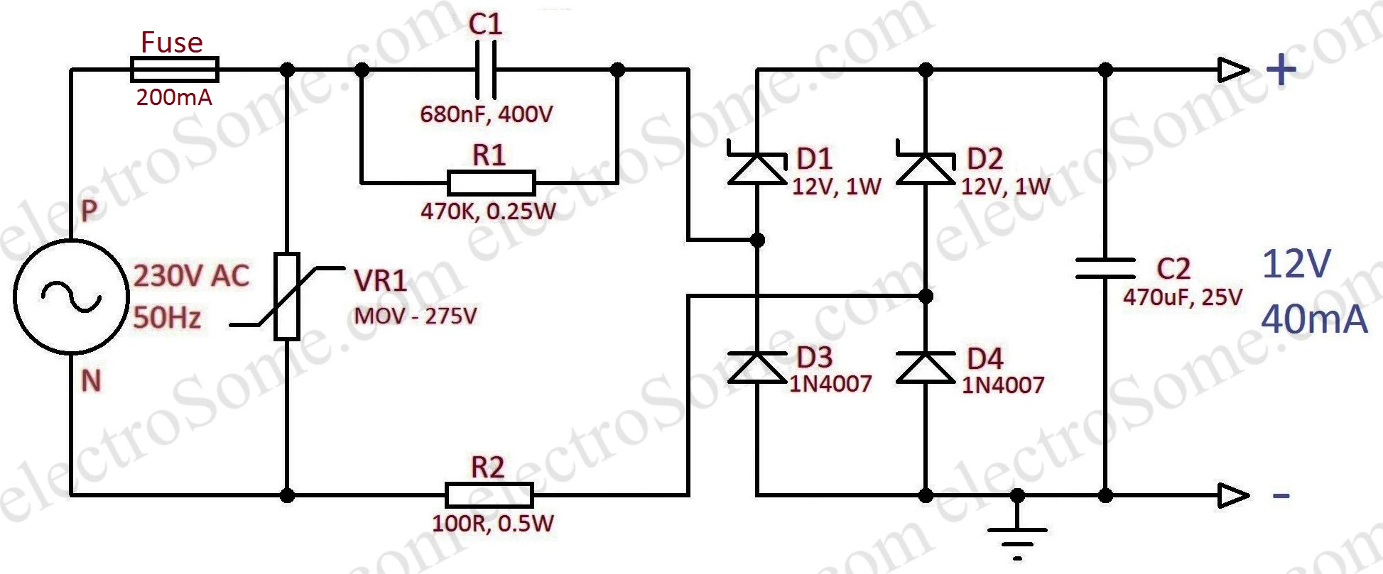 Circuit Diagram. Transformerless Capacitor Power Supply 12V 40mA