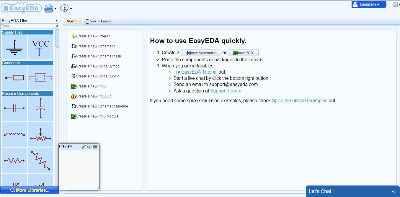 Easyeda A Cloud Based Pcb Design Software How To Build Online Using Web Eda Tools Electronic New Project