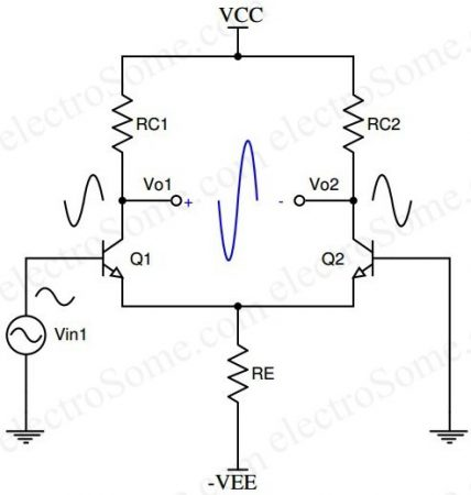 Differential Amplifier using Transistor - Single Input Balanced Output