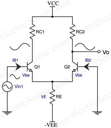 Differential Amplifier using Transistor - Single Input Unbalanced Output