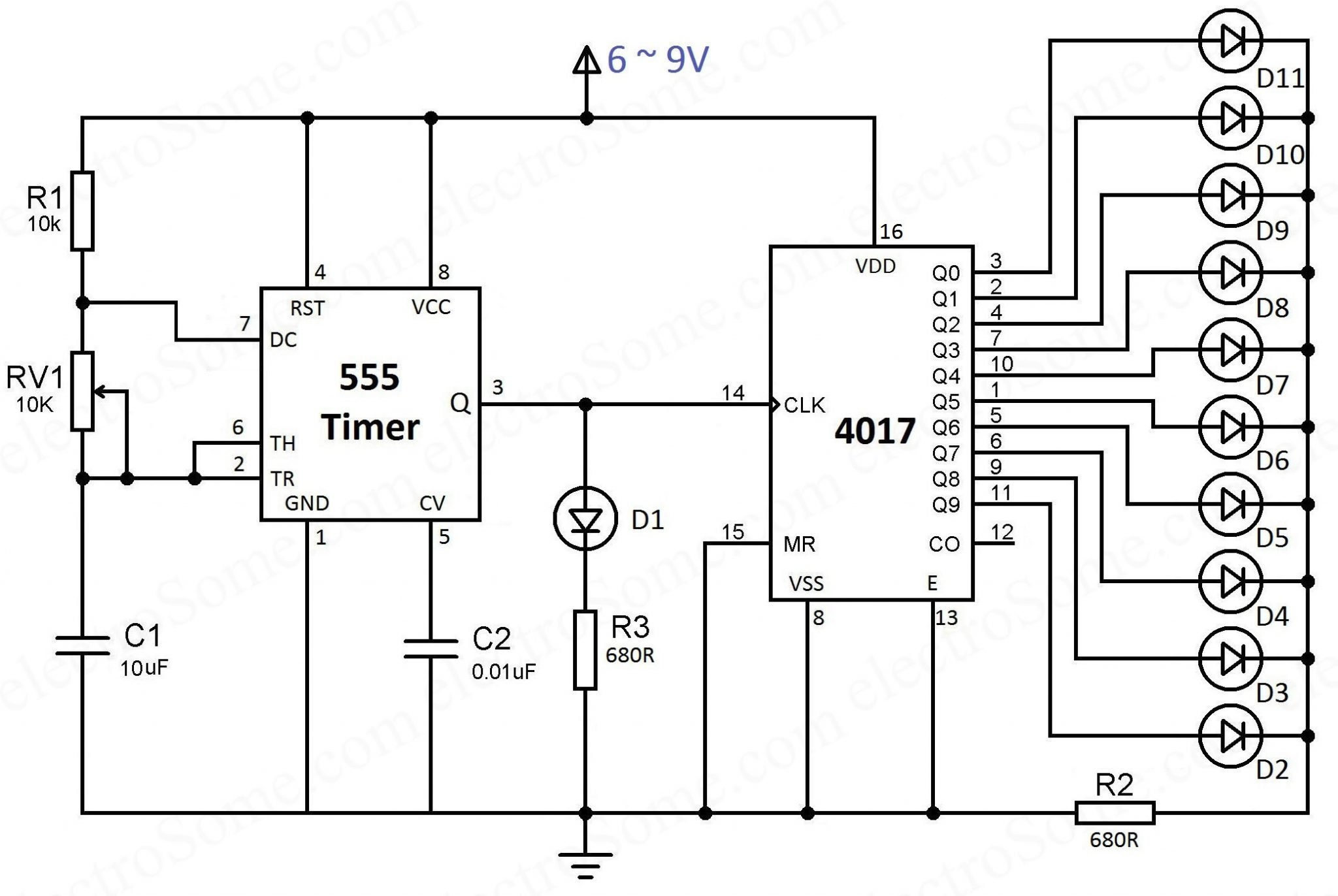Led Chaser Using 4017 Counter And 555 Timer Car Battery Failure Detector Circuit Schematic Diagram