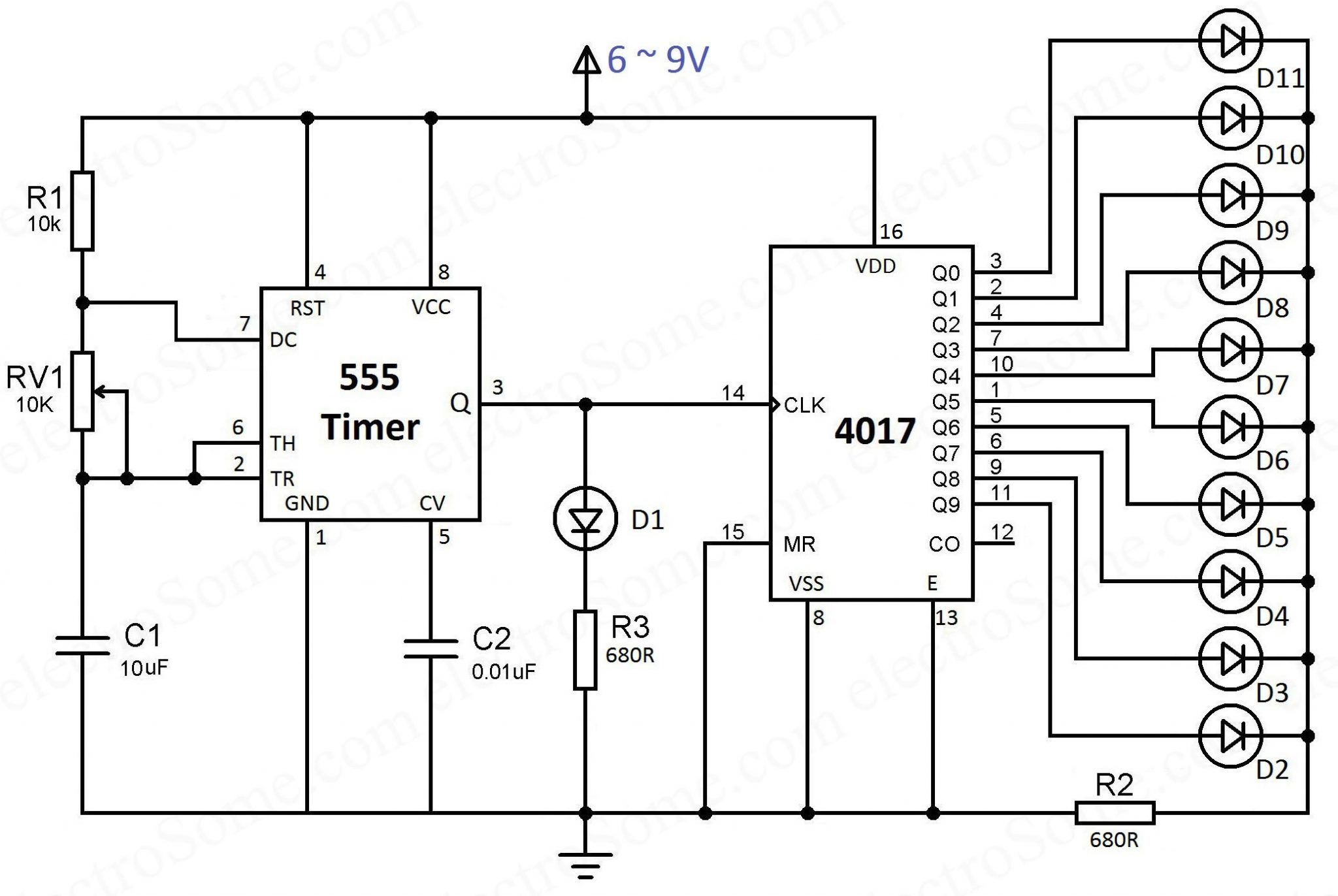Led Chaser Using 4017 Counter And 555 Timer Circuit Diagram Wireless Printer