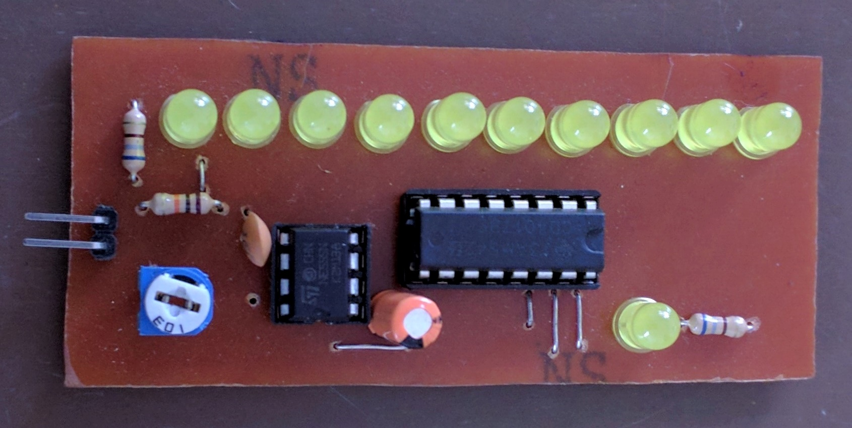 Led Chaser Using 4017 Counter And 555 Timer Circuit Further Long Duration On Off Delay Pcb