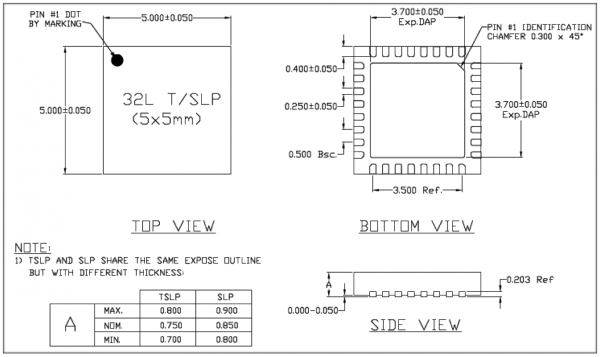 ESP8266 Chip Package - QFN32 - Dimensions