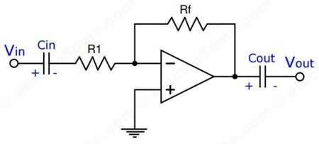 AC Coupled Inverting Amplifier using Opamp
