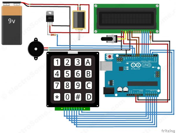 Digital Door Lock using Arduino - Circuit Diagram