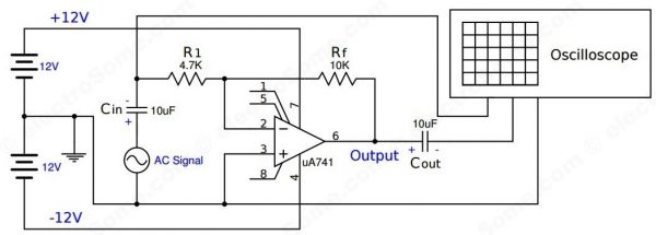 Inverting Amplifier using Opamp - Experiment