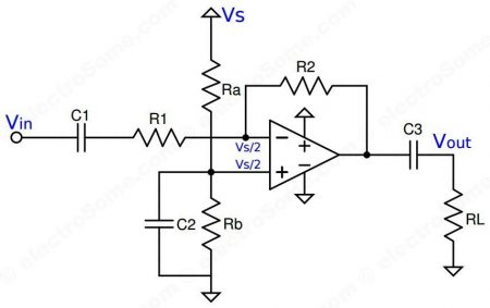 Single Supply Inverting Amplifier using Opamp