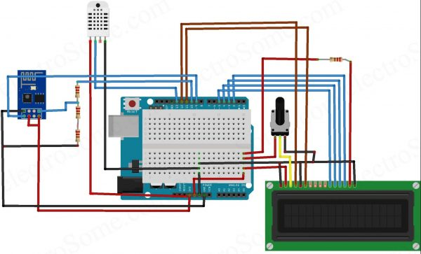 IoT Data Logger using Arduino and ESP8266 - Circuit Diagram