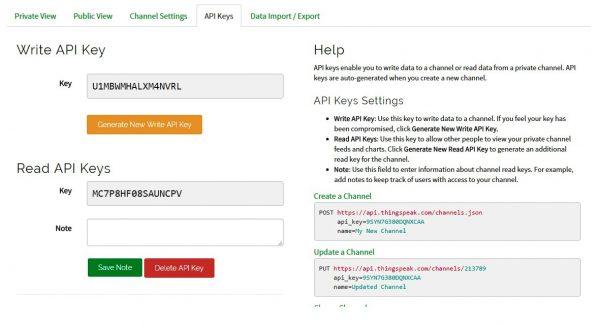 ThingSpeak - API Keys