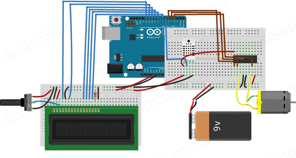 Temperature Controlled Fan using Arduino - Circuit Diagram