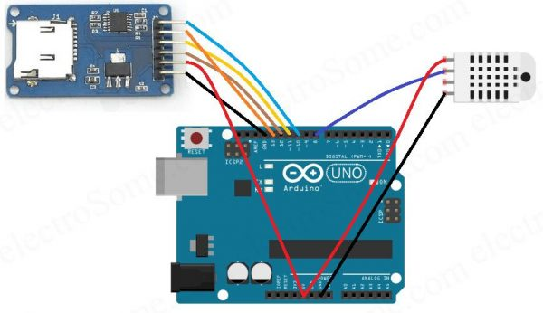 Temperature Data Logger using Arduino - Circuit Diagram