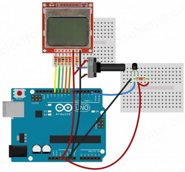 Digital Thermometer using Arduino and DS18B20 Sensor Circuit Diagram