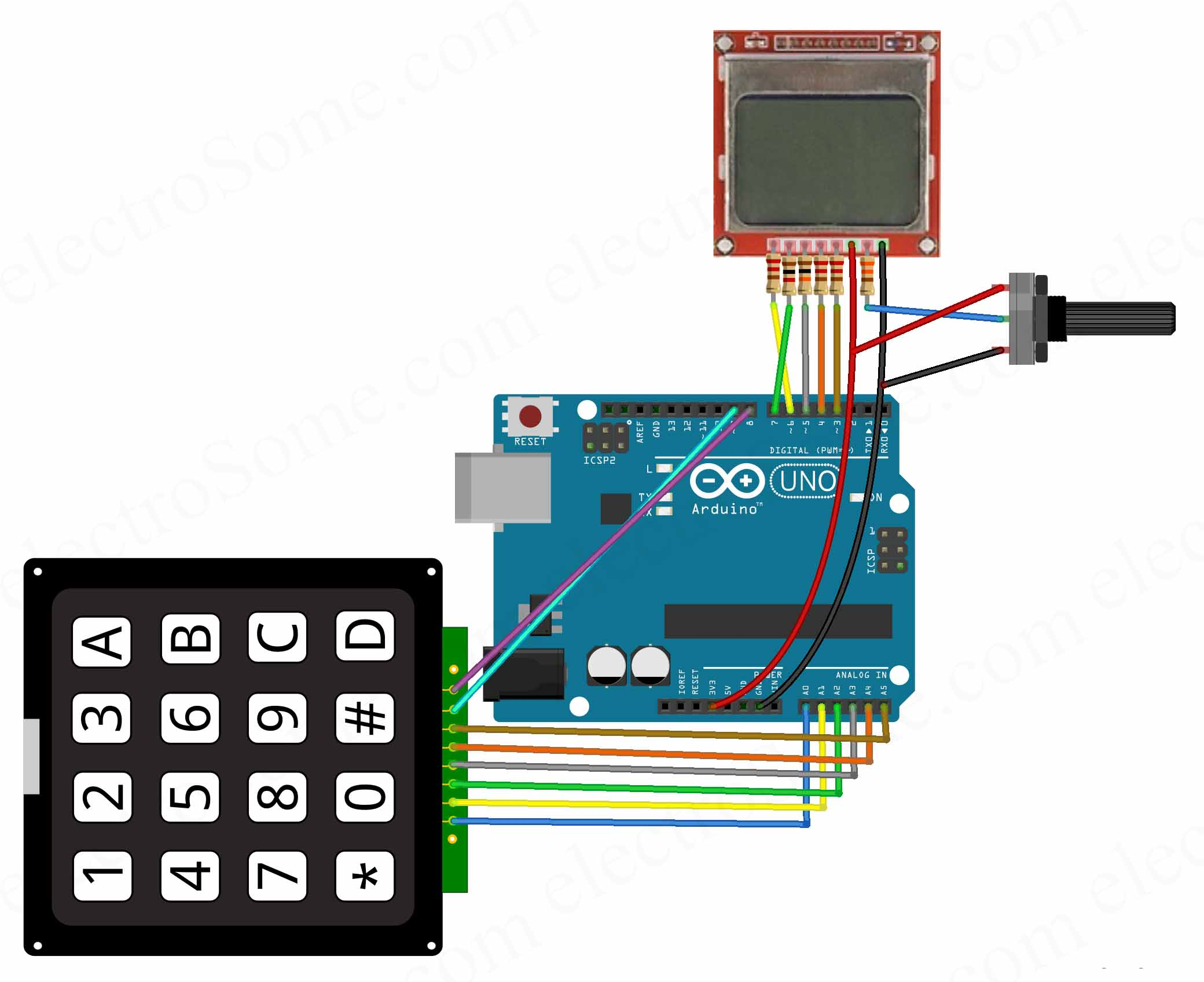 Calculator using Arduino Uno - Hobby Project - Circuit Diagram