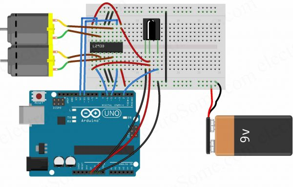 Controlling DC Motors using IR Remote - Circuit Diagram