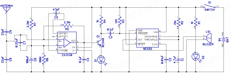 Mobile Phone Detector - Hobby Project - Circuit Diagram