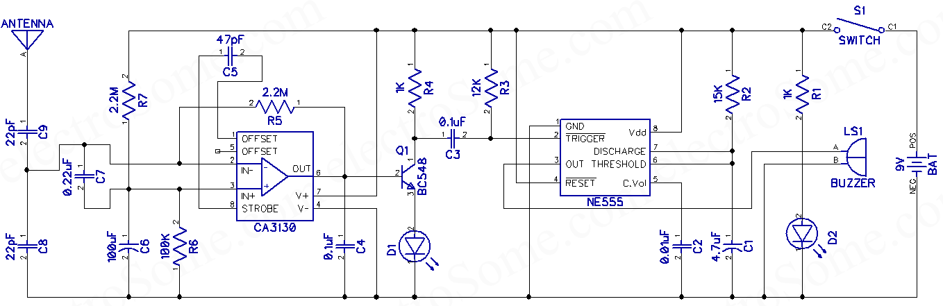 mobile phone detector hobby project circuit diagram rh electrosome com phone detector circuit diagram phone schematic diagram