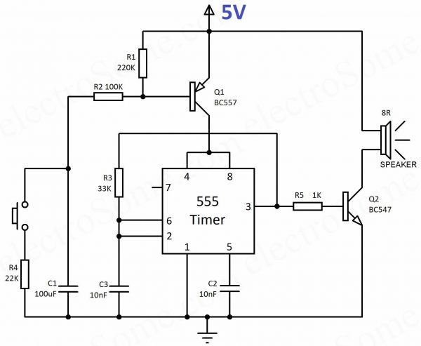 Wailing Siren using 555 Timer – Circuit Diagram