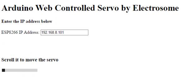 Web Controlled Servo Motor Using Arduino Uno - Webpage