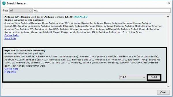 Arduino IDE ESP8266 Board