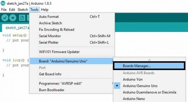 Arduino IDE Board Manager