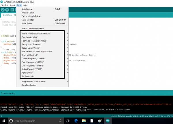 Arduino IDE Board & Port Selection