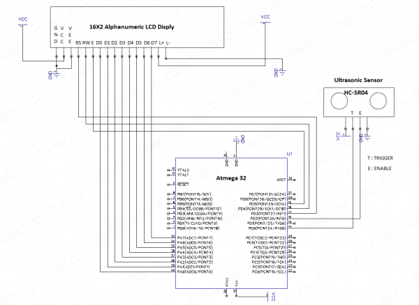 Ultrasonic Distance Measurer - Circuit Diagram