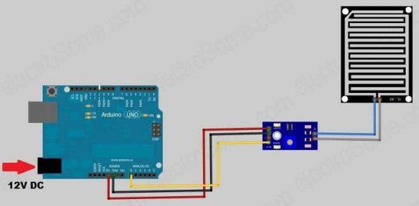 Arduino Rain Sensor - Circuit Diagram