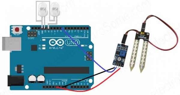 Interfacing Moisture Sensor with Arduino-Digital Mode-Circuit Diagram