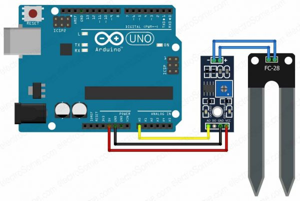 Interfacing Soil Moisture Sensor with Arduino - Circuit Diagram