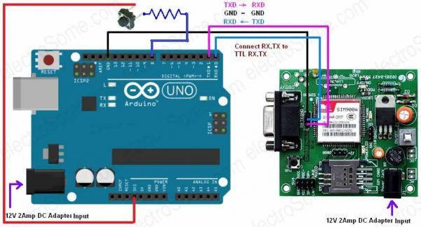 Interfacing GSM Modem with Arduino - Circuit Diagram