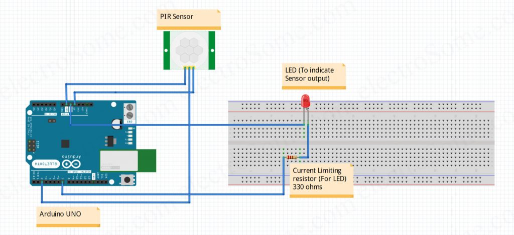 Interfacing PIR Motion Sensor with Arduino - Circuit Diagram