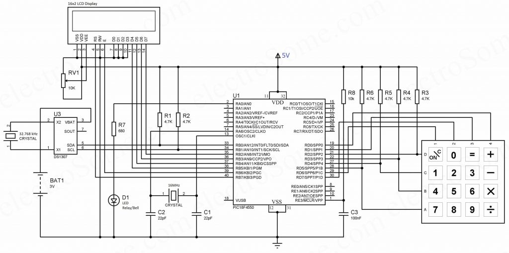 Automatic College Bell using Microcontroller - Circuit Diagram