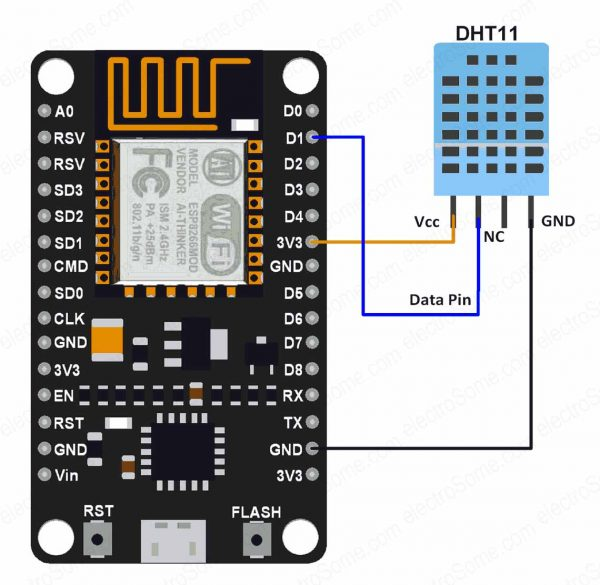 Interfacing DHT11 Sensor with ESP8266 - Circuit Diagram
