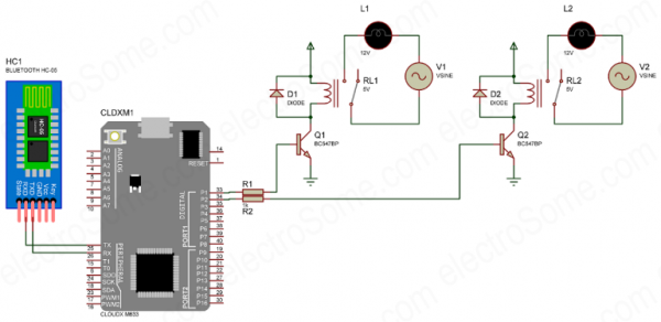 HC-05 Bluetooth Home Automation With CloudX-Circuit Diagram