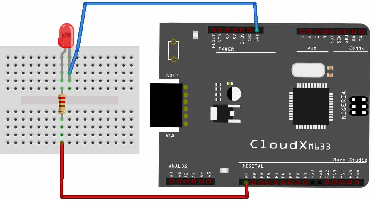 Getting Started With Cloudx Development Board Blinking Led Digital Voltmeter Using Pic Microcontroller 16f877a And Seven Segments Circuit Diagram